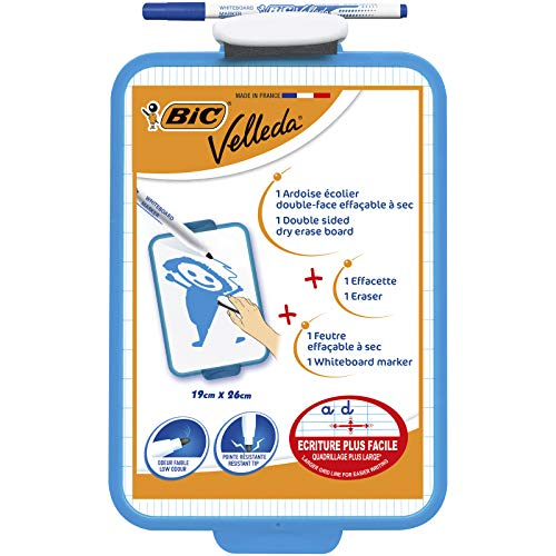 BIC Velleda Pizarra Blanca con Rotulador Azul (19 x 26 cm) - Bolsa de 1+1