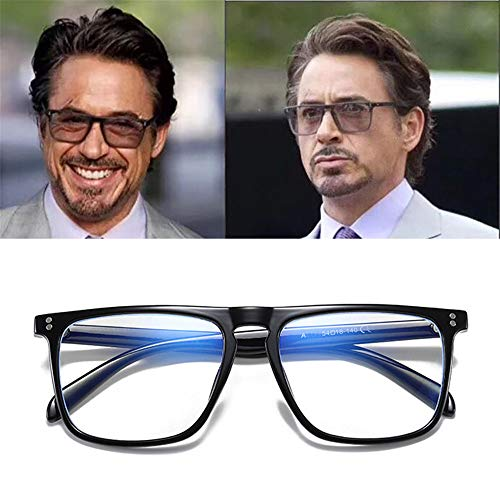 2020 nieuwe anti Blue Light Bril Blocking filter vermindert Tony Stark Brillen Strain Clear Gaming Computer bril voor mannen verbeteren Comfort,Black