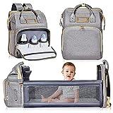 Nuliie mochila cambiador, cuna portátil para bebés y niños, bolsas impermeables para bebés con bolsillos aislados y puerto de carga USB para viajes de bebés, gris