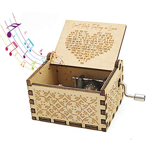 Can't Help Falling in Love Music Box, Music Box Hand Crank Laser Vintage Wood Carved Musical Box Gifts for Gifts for Lover, Boyfriend, Girlfriend, Husband, Wife (Heart-Can't Help Falling in Love)