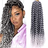 6 Packs Water Wave Crochet Braid Passion Twist Synthetic Hair Braid 18 Inches Ombre Bohemian Curly Wave Braiding extensions(22 Strands/pack,T1/Grey#)