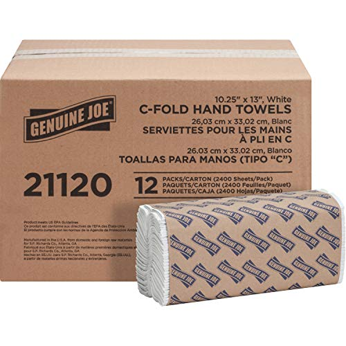 Genuine Joe GJO21120 C-Fold Paper Towels (Pack of 12), White