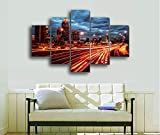 DGGDVP 5 Piezas Night City Modern Home Wall Decor Canvas Picture Art HD Print Painting Set of Canvas Arts Size 2 Frame
