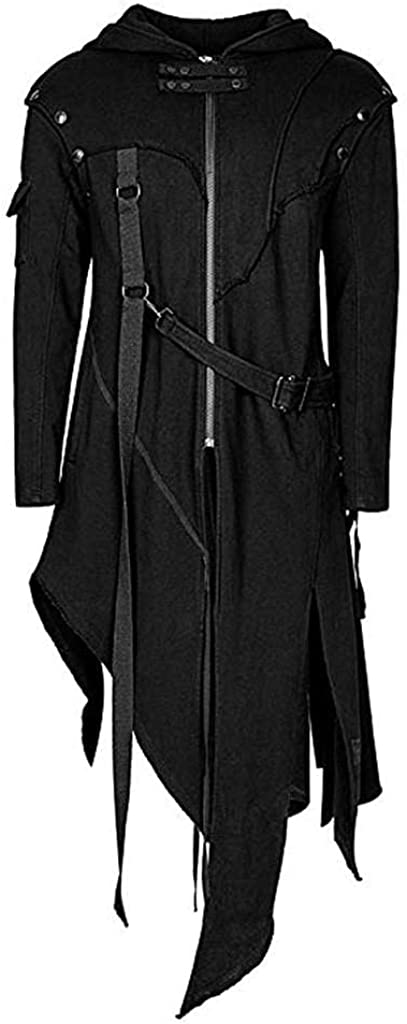 Men's Vintage Hoodies Jacket Zipper Asymmetrical Irregular Longline Retro Punk Style Party Outwear Coat