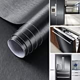 Klebefolie Metall Optik Selbstklebende Folie Schwarz Gebürstet Möbelfolie 60x500 cm PVC Dekofolie Küchenfolie für Kühlschrank Küchenschränke Küchenrückwand Tür Möbel Haushaltsgeräte Deko