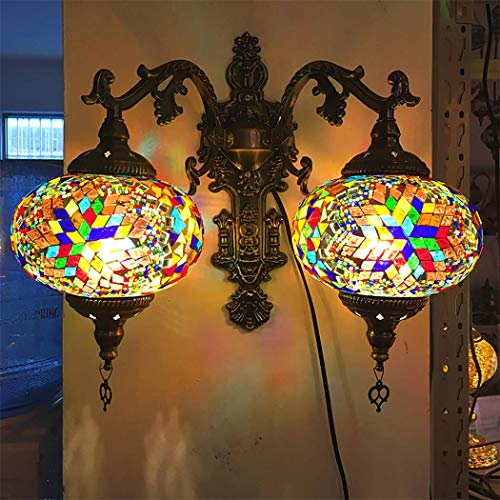 2 Jefe lámparas de pared, lámpara de metal Mosaico marroquí Europea apliques de la pared de Turquía aplique de pared de luz Lámparas árabes clásicos para la escalera del pasillo del pasillo,B