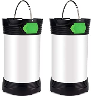 Camping Lantern LED Light Super Bright 1000 Lumens with 26650 Battery Included,Rechargeable with Micro-USB Cable Directly,4 Modes for Camping Hiking (2 Pack)