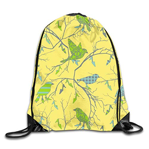 show best Birds in Shoe Tree Drawstring Gym Bag for Women and Men Polyester Gym Sack String Backpack for Sport Workout, School, Travel, Books 14.17 X 16.9 inch