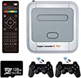 Retro Arcade Spielekonsole WiFi Super Console X Pro 128GB mit 41000 Spiele + 2 Bluetooth Gamepads, HD Mini TV Videospiel-Player mit HDMI/AV/LAN, Retro Konsole X Compatible with PS1/N64/DC(128G)