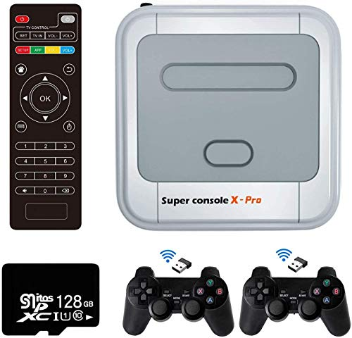 Retro Arcade Spielekonsole WiFi Super Console X Pro 128GB mit 41000 Spiele + 2 Bluetooth Gamepads, HD Mini TV Videospiel-Player mit HDMI/AV/LAN, Retro Konsole X Compatible with PS1/N64/DC(128GB)