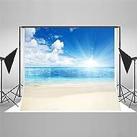 写真の背景 2x3m トロピカルブルースカイライン白い雲写真の背景ウェディングエレガントビーチの写真の背景シームレス