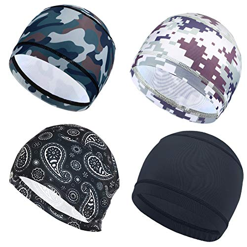 4 Pack Cycling Skull Caps Helmet Liner Cooling Caps Sweat Wicking Cycling Beanie Caps Chemo caps Dry Fit Sports Running Hat For Men Women Motorcycle Under Helmet Hard Hats Liner Hiking Exercise