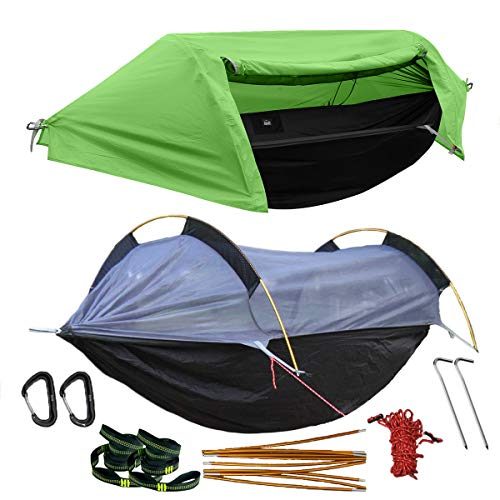 WintMing Camping Hammock with Mosquito Net and Rainfly Cover (Green)