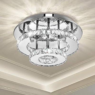Ganeed Crystal Ceiling Light,Dimmable Flush Mount,Modern LED Ceiling Lamp Chandelier with 36W 120LEDs Lighting for Dining Room Bedroom Foyer(3000-6500K)