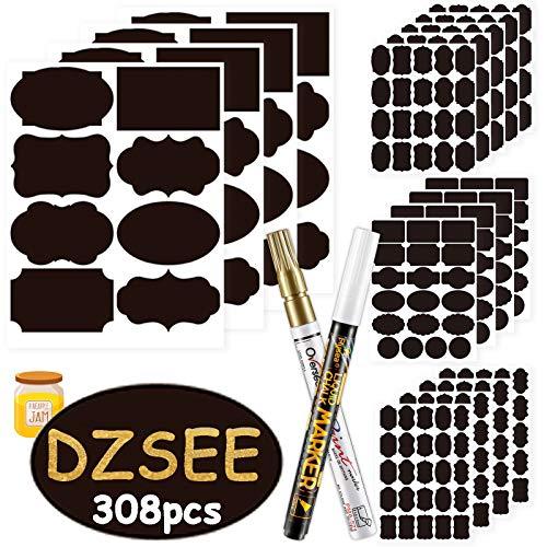 DZSEE® 308x Etiquetas Adhesivas + 2 Marcador de Tiza, Pegatina Reutilizable, etiquetas para Frascos, Pegatinas Pizarra para Tarros Borrable, Decorar Tarros, Vino, Despensa, Hogar y Oficina