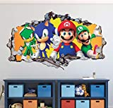 """Mario Bros Friends Wall Decal Art Decor 3D Smashed Sonic The Hedgehog Sticker Mural Kids Gift Large HA04 (30"""" W x 18"""" H)"""