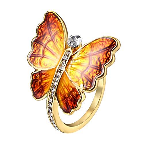 6Wcveuebuc Chic Colorido Esmalte Mariposa Voladora Anillos Cristales Incrustados Mariposa Animales Banda para Mujeres Joyería de Moda Talla EE.UU. 7