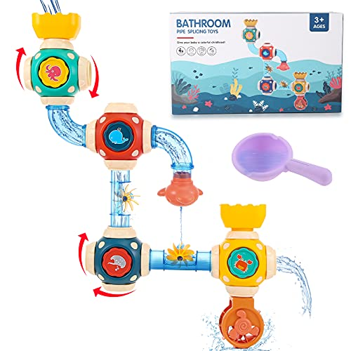 SCIONE Baby Bath Toys Set,Spray Water Bathtub Toy for Toddlers,Infant Bath Time DIY Squirt Toy with Pipes, Cogs and Tubes - Attaches to Any Size Tub Wall