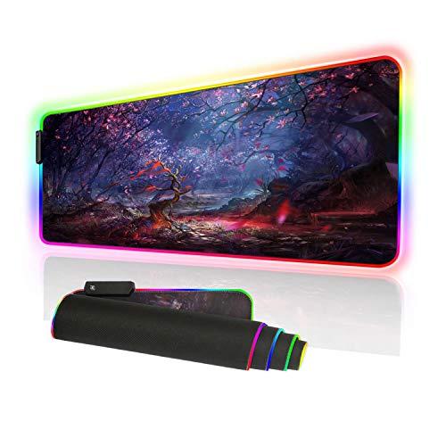 Erweitertes RGB-Gaming-Mauspad, übergroß, 10 Leuchtmodi, dick, leuchtende LEDs, rutschfeste Gummiunterseite, Computer-Tastatur-Pad