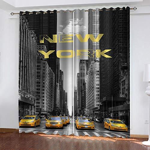 RXWZRL Lot De 2 Rideaux Occultants Isolants Thermiques Rideau Opaques Chambre Enfant A Oeillet avec Motif New York City Street View 100X160cm Rideau Décoration De Fenêtre pour Salon