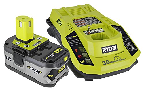 Ryobi P108 One+ 18V 4.0AH Lithium Ion Battery and P117 One+ Dual Chemistry Lithium Ion and NiCad Battery Charger (2 Piece Combo Set) (Renewed)