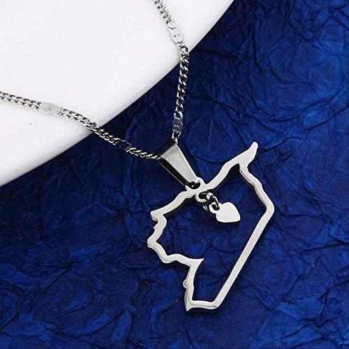 Acero Inoxidable Moda Siria Mapa Colgante Collar Esquema Siria Mapa Corazón Cadena Joyería Plateado De Plata