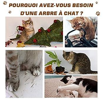 Pawhut Arbre à Chats Design griffoir sisal Naturel Niche Plate-Forme Jeu Boules suspendues 68L x 37,5l x 64H cm MDF Bois Clair Blanc