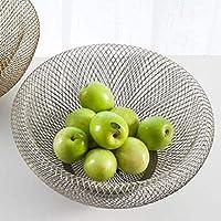 MCE フルーツボウルフルーツトレイ二重層金属ワイヤーフルーツボウル家庭用フルーツ野菜収納バスケット (Color : Silver, Size : 25.5*10.5*13)