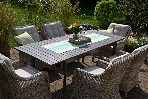 Gartenmöbel Set Como-6 Tisch ausziehbar Holzdekor mit 6 Sessel Rattan Polyrattan Geflecht - 3