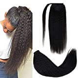 [Grande Promotion + Expédition Accélérée] LaaVoo 30cm Clip on Ponytail Kinky Straight Hair Extension Noir Cheveux Naturel Bresilienne Queue de Cheval Vrai Humain Postiche Afro Cheveux Naturel 80G