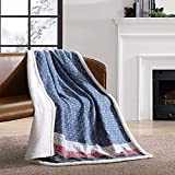 Eddie Bauer Home   Brushed Collection   Giftable Sherpa Fleece Reversible Throw, Ultra Soft & Cozy, Perfect for Bed or Couch, Fair Isle Midnight