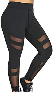 Tootu Women Plus Size Elastic Leggings Solid Criss-Cross Hollow Out Sport Pants