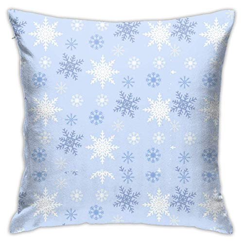 Throw Pillow Cover Cushion Cover Pillow Cases Decorative Linen Blue And White Snowflake for Home Bed Decor Pillowcase,45x45CM