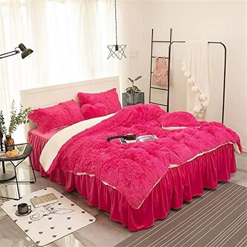 ESUHUANG Purple Gray White Blue Pink Warm Mink Velvet Bedding Set Soft Berber Fleece Duvet Cover Flannel Bed Sheet Bed Skirt Pillowcases (Color : 6, Size : Heart shaped pillow)