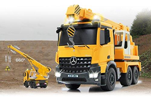 RC Auto kaufen Baufahrzeug Bild 2: Jamara 405034 - Schwerlastkran Mercedes Liebherr 1:20 2,4G - Kran ausfahren und 660° drehbar, Seil heben / senken, gelbe LED Signallichter, programmierbare Funktionen, realistische Sounds,4 Radantrieb*