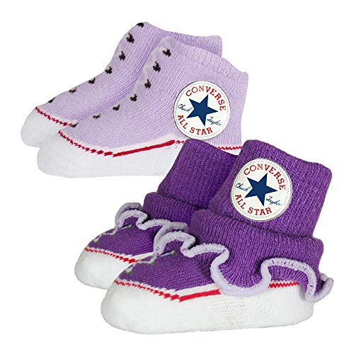 Converse Baby 2-er Socken Geschenk-Set Rüschen Frilly Chuck Infant Booties Allium Purple (violett lavendel)