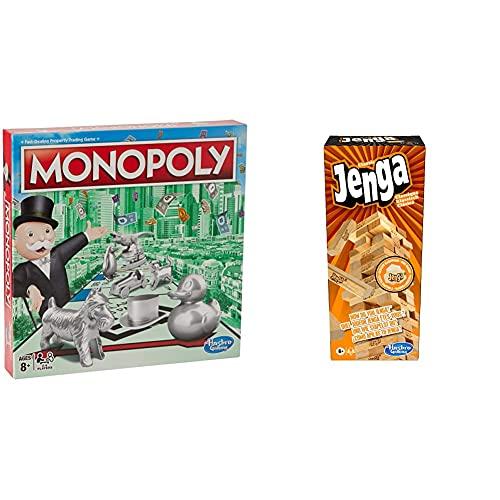 Hasbro C1009302 Monopoly Classic, klassisches Brettspiel für die ganze Familie für 2 bis 6 Spieler & A2120EU4 - Jenga Classic, Kinderspiel das die Reaktionsgeschwindigkeit fördert, ab 6 Jahren