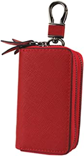 Leather Women's Wallet Cross-Stitched Leather Key Case Popular Double-Layer Zipper Car Key Case Waterproof (Color : Red, Size : L)