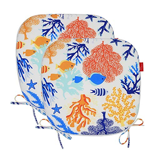 Pcinfuns Indoor/Outdoor All Weather Chair Pads Seat Cushions Garden Patio Home Chair Cushions, Set of 2, Phoenix