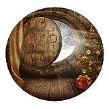 F Fityle Mantel para Mesa de Cocina Redondas 1.2M Tela a Prueba de Polvo, Tema Navideño - Puerta de madera