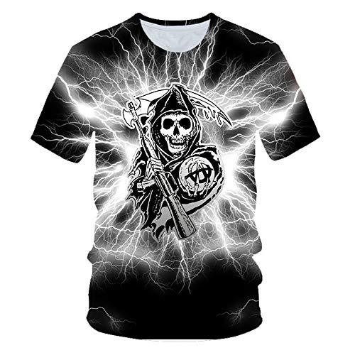 Sunofbeach Unisex 3D T-Shirt Lustige Druck Beiläufige Kurzarm T-Shirts Tee Tops, Blitz Reaper Schädel Lustig Gothic T-Shirts Für Männer, Frauen, 6XL