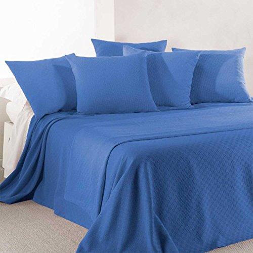Caleffi Rodeo Tagesdecke aus Piqué-Baumwolle, nicht gesteppt, für Doppelbett, Kornblumenblau
