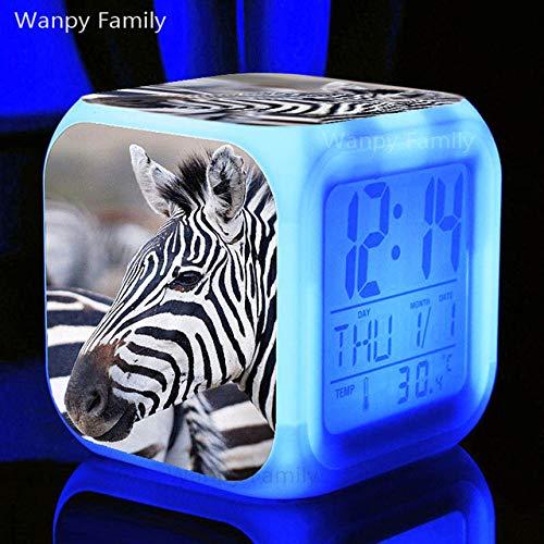 Zhuhuimin Multifunctionele lichtemitterende LED kleurverandering digitale dier wekker dier zebra wekker kinderverjaardagscadeau digitale thermometer