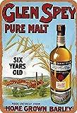 Sonamdws Glen Spey Pure Malt Six Years Old Home Grown Barley - Cartel clásico de lata para decoración de pared con aspecto vintage (20 x 30 cm)