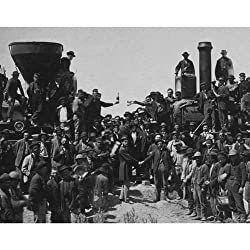 Image: DS Decor Photos Quality Digital Print of a Vintage Photograph - East Meets West - The 'Golden Spike' Ceremony, Promentory Summit, Utah May 10, 1869. Black and White 11x14 inches - Matte Finish