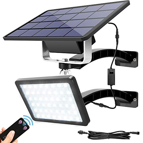 Solar Lights Outdoor with Remote Control JACKYLED 48 LED Dusk to Dawn Solar Panel Light Kit with 5500mAh Battery and 9.8ft Cord Wall Mount Security Light for Front Door Barn Porch Patio Garage (Black)