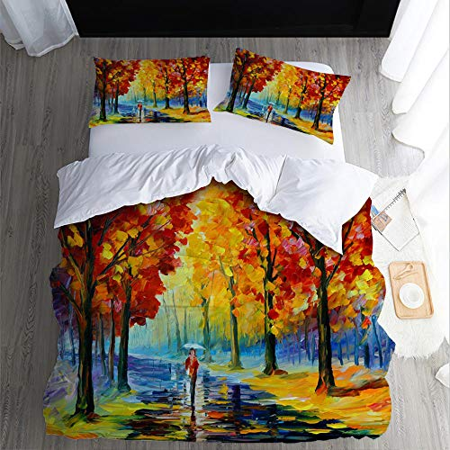 Printed Duvet Cover Double bed Avremov art oil painting Children's rooma and bedroom Bedding boy girl Soft 3 pcs set Easy Care Duvet Cover Set with Zipper Closure