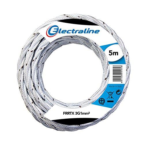 Electraline 16810 FRRTX Cavo Tessile, Sezione 3x1 mm, Lunghezza 5 m, Bianco
