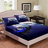 Space Cat - Juego de cama de tamaño individual, diseño de gato con animales para niños, niñas, adolescentes, dormitorio, juego de cama con sistema solar Galaxy con 1 funda de almohada, color morado