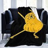 Happy-life Fleece Blankets Adventure Time-Jake The Dog Sofa Warm Cozy Bed Linen Microfiber Super Soft Lightweight Luxury Yoga Mats Blanket Throw Size 50x40 60x50 80x60 Inch 80'x60' Fashion Black
